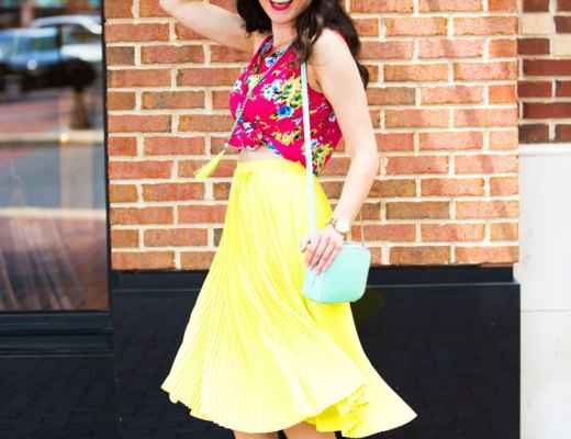 Yellow Pleated Skirt and Pink Floral Top for Summer | www.cupcakesandthecosmos.com