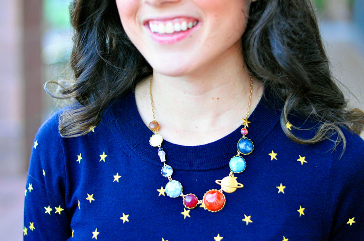 Navy and Gold Embellished Star Sweater + Space Necklace | www.cupcakesandthecosmos.com