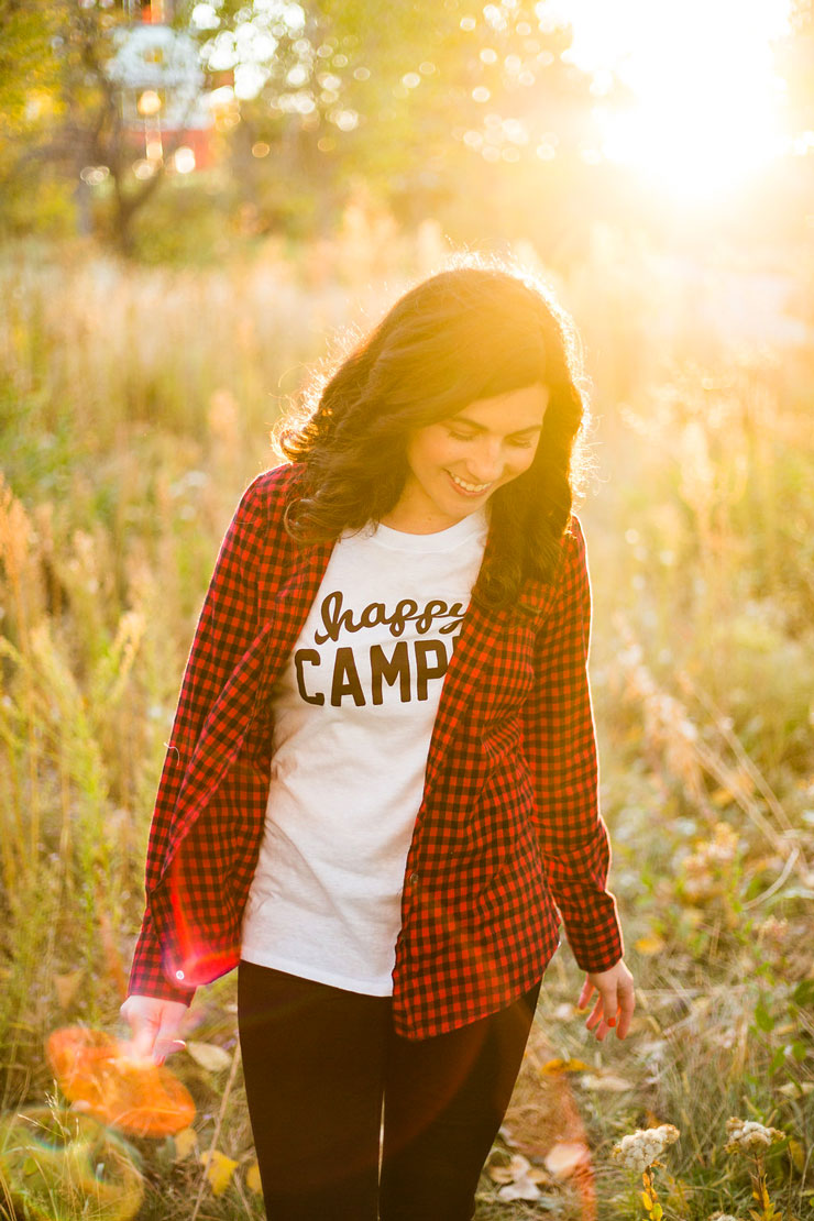 Happy Camper Tee + Plaid Button Up   www.cupcakesandthecosmos.com