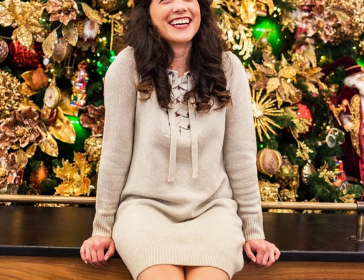 Cozy Christmas Sweater Dress and Over The Knee Boots | www.cupcakesandthecosmos.com
