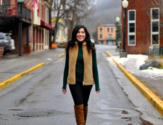 Forest Green Tissue Turtleneck and JCrew Fur Vest in Telluride Colorado   www.cupcakesandthecosmos.com