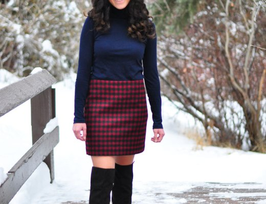 Buffalo Check Skirt and Fur Vest in Beaver Creek | www.cupcakesandthecosmos.com