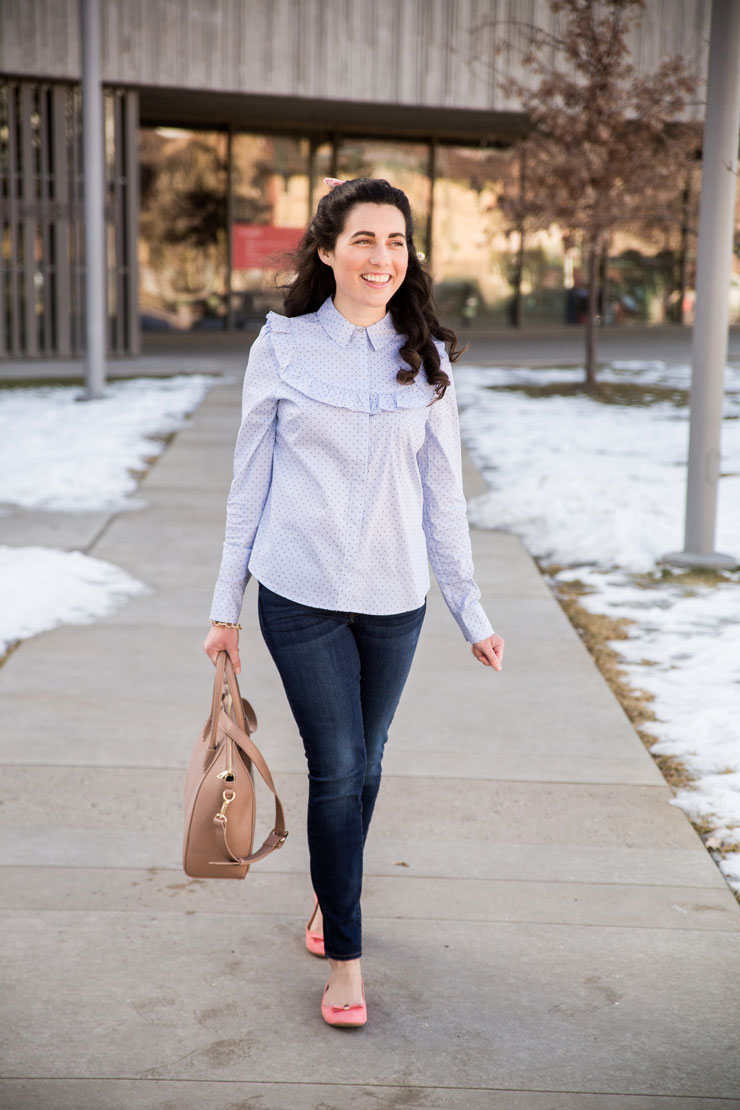 Casual Friday: Ruffle Blouse with a Pink Bow | www.cupcakesandthecosmos.com