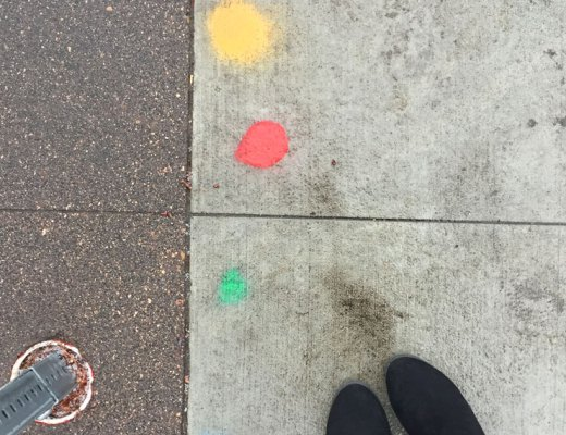 Colorful dots on the sidewalk | www.cupcakesandthecosmos.com