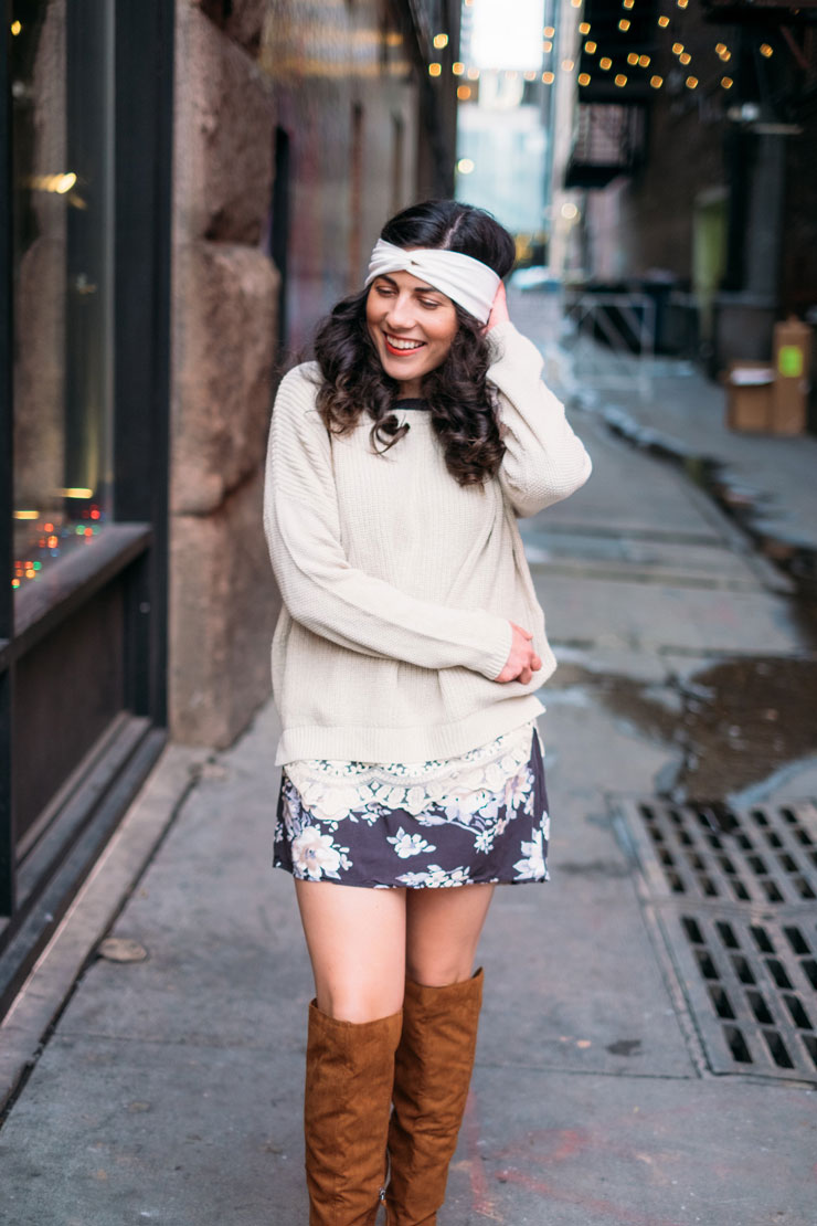 Four Ways To Style A Floral Dress in Winter: Comfy Cozy | www.cupcakesandthecosmos.com