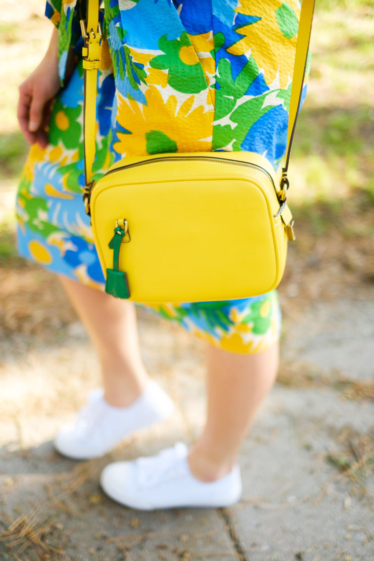JCrew Floral Skirt with Tennis Shoes | www.cupcakesandthecosmos.com