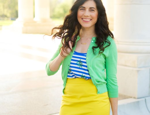 Stripes and palm prints for summer work wear. | www.cupcakesandthecosmos.com