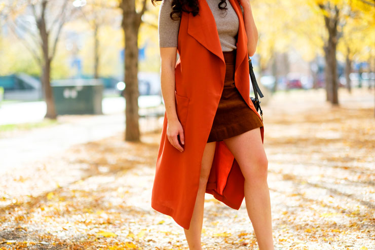 Orange Duster with J. Crew Corduroy Skirt and Ribbed Turtleneck for Fall Style | www.cupcakesandthecosmos.com
