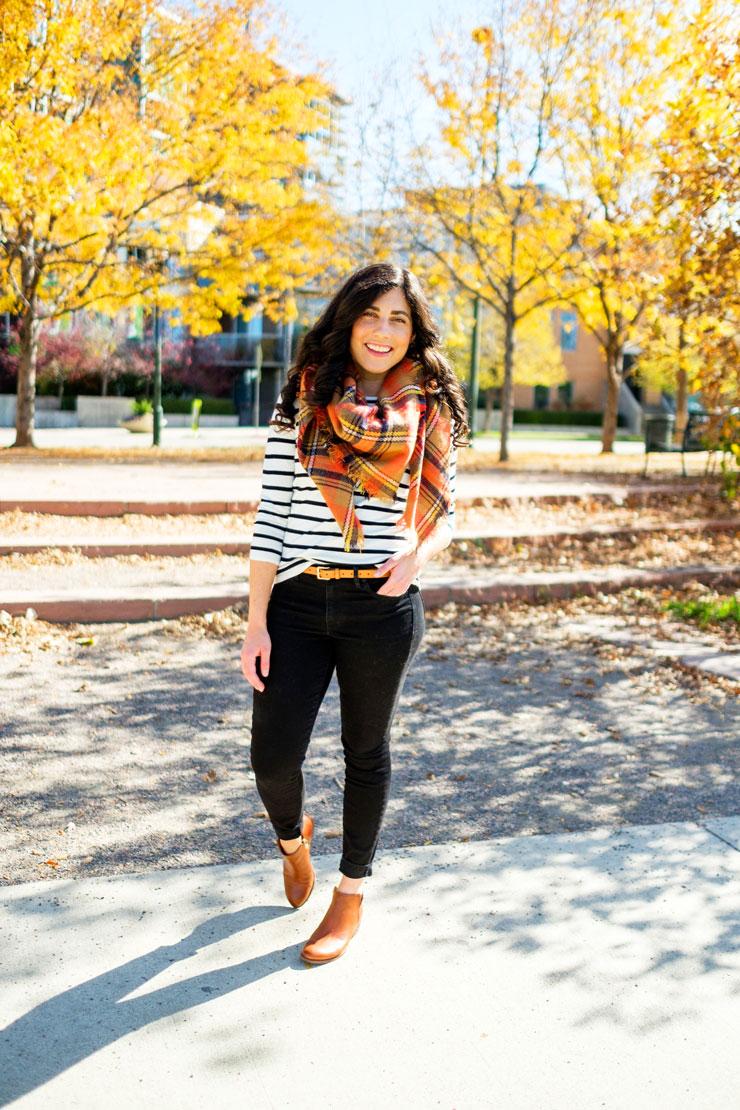 Orange Plaid Scarf for Fall | www.cupcakesandthecosmos.com