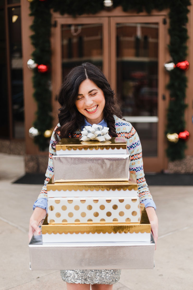 J. Crew pastel fair isle sweater with a silver sequin skirt for the holidays | www.cupcakesandthecosmos.com