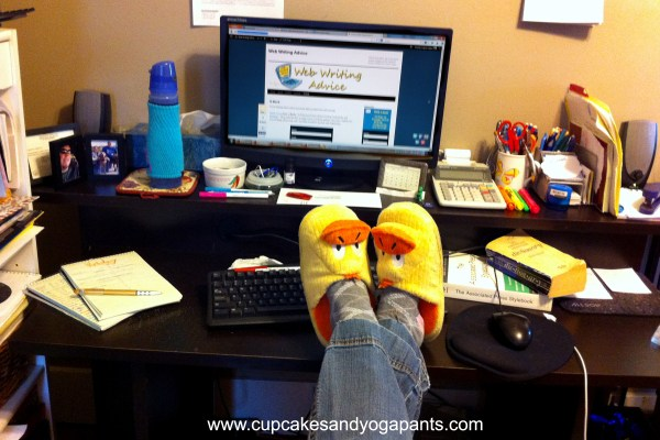 If you're self-employed, what perks do you give yourself? I consider my slippers-all-day policy pretty wonderful.