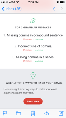 Grammarly sends me cool emails each week. They highlight my top grammar mistakes, my accuracy, unique word usage and how many words I wrote.