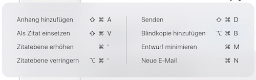 Tastaturkürzel Mail iOS 9