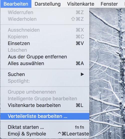 OS X - Verteilerlisten in Kontakte bearbeiten