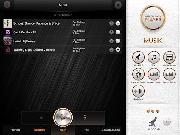 Benutzeroberfläche von WHAALE bei der Musikauswahl