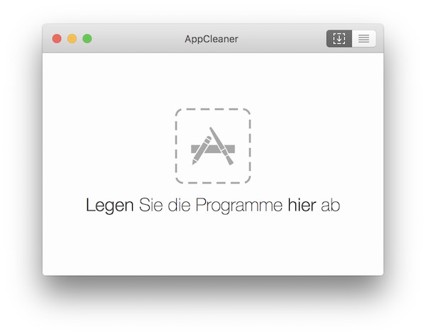 Benutzeroberfläche AppCleaner