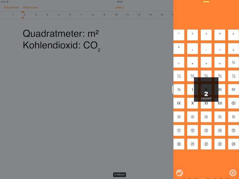 Mit der App Charakter Pad eine tiefergestellte Zahl in Pages einfügen…