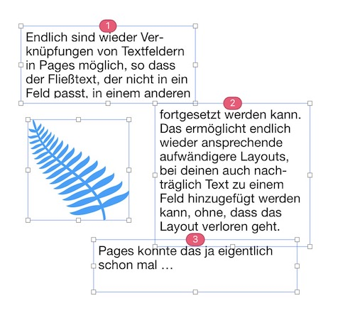 Pages – Verkettung Textfelder