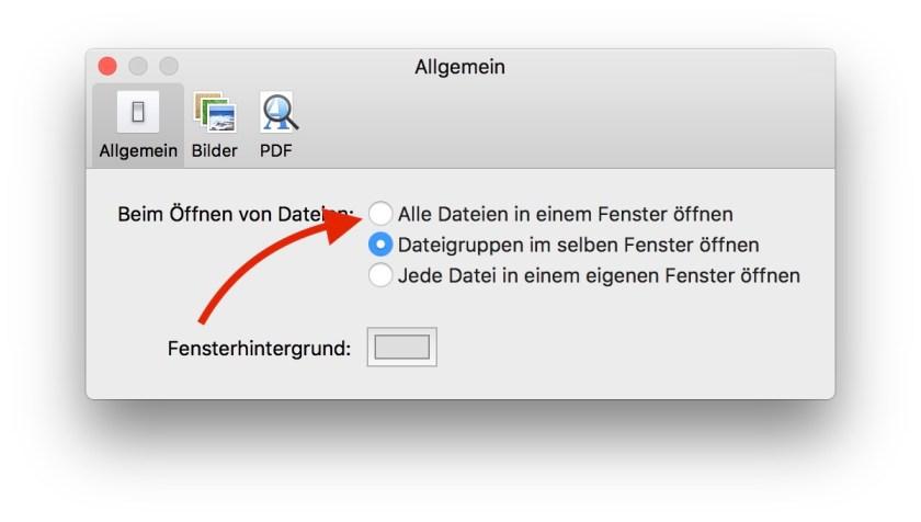 macOS Vorschau: Einstellungsfenster