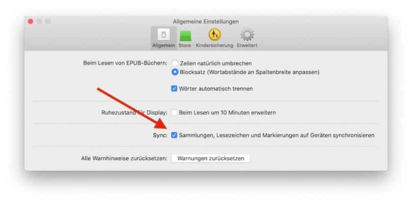 Einstellungen Bücher-App macOS Mojave