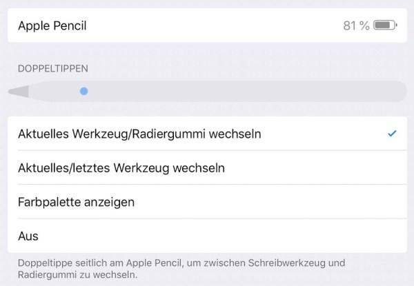 Einstelllungen für den Apple Pencil 2