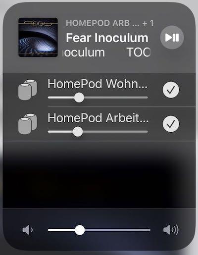Kontrollzentrum auf dem iPad– Musik