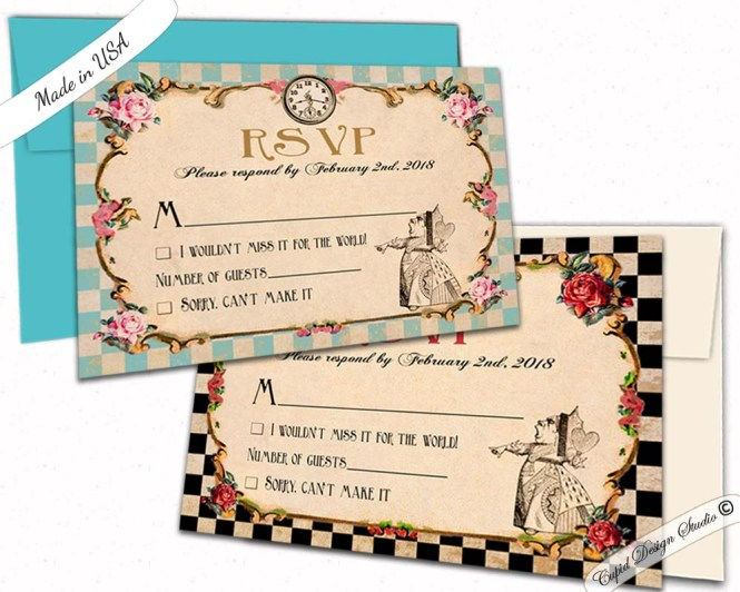 Alice In Wonderland Wedding Rsvp Card