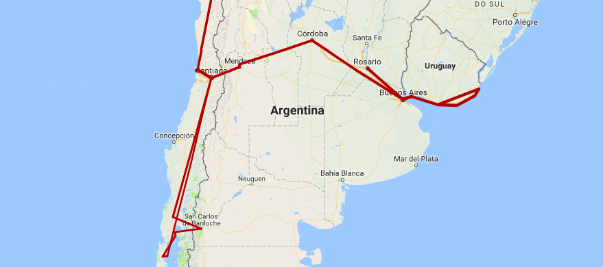 argentina trip itinerary 5 6 weeks bariloche buenos aires mendoza cordoba rosario chile where to go travel guide latin south america