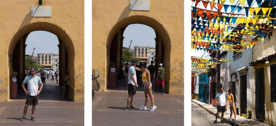 how to take couple travel photos without a tripod: composite photoshop