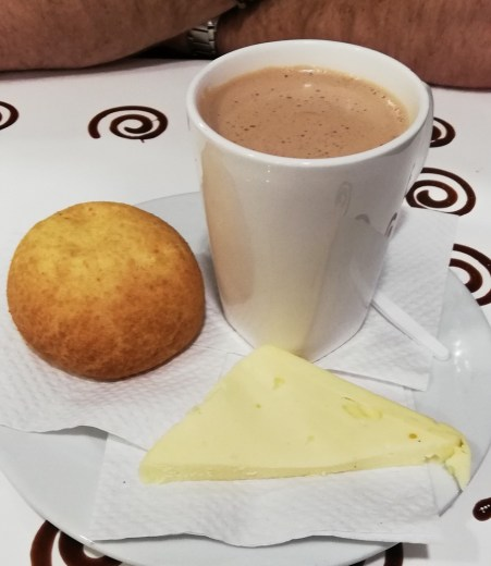 south american drinks - hot chocolate and cheese in colombia
