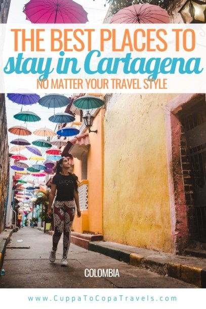 best places to stay in Cartagena Colombia: getsemani umbrellas