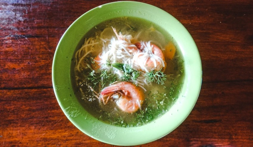 prawn soup served in a bowl in ayampe, a day trip from montañita ecuador
