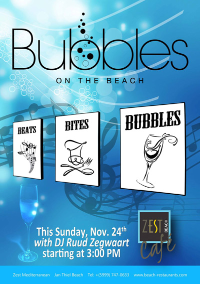 Bubbles on the beach at Zest Curacao