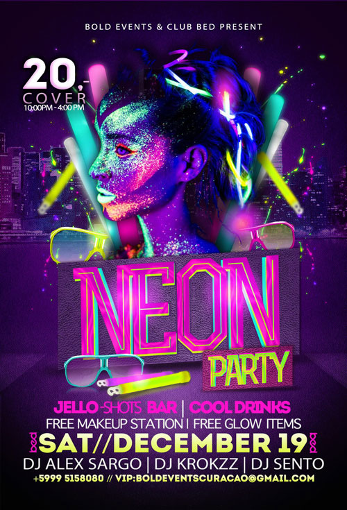 Neon Party at Club BED Curacao