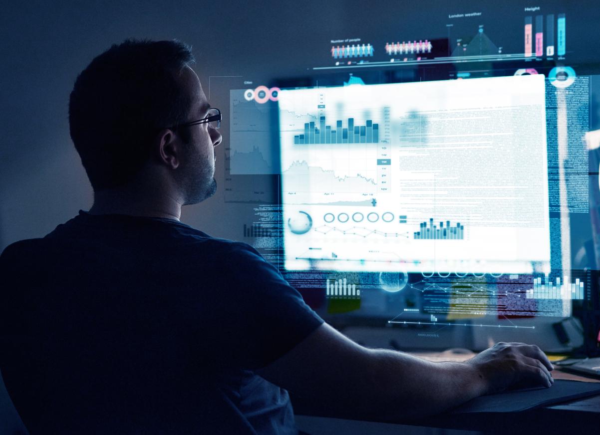 Programmer examining data