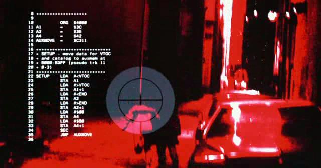 Terminator, the HUD shows a listing of 6502 assembly language which appears to have been taken from an Apple II.