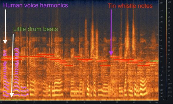 Annotated spectrogram of the attached audio recording. Along the X axis is time. Along the Y axis is frequency. Vertical lines change colour according the the loudness of particular frequencies. Many thousands of vertical lines are combined, so clear sounds appear as horizontal lines traced out in colours. The notes played by a whistle can be clearly seen as 'hot' horizontal lines. Wavy lines represent the harmonics of the voice of the interviewee. These lines have been highlighted in three colours.