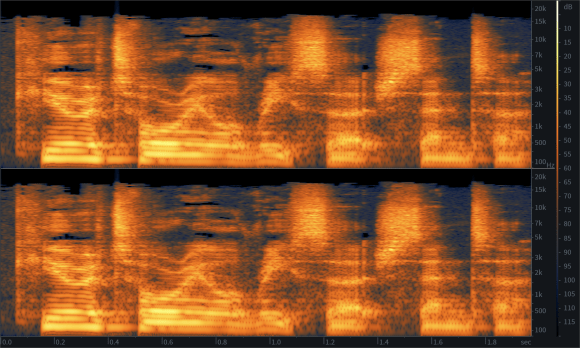 "A spectrogram of the author saying the words ""Curatorial Research Centre"". Along the X axis is time. Along the Y axis is frequency. Vertical lines change colour according the the loudness of particular frequencies. Many thousands of vertical lines are combined, so clear sounds appear as horizontal lines traced out in colours."