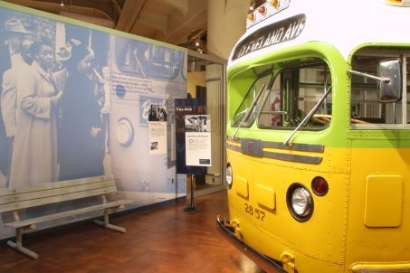 The restored bus on which Rosa Parks refused to give up her seat.