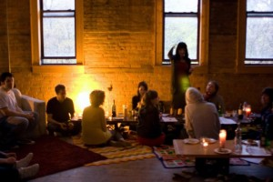 A group of Detroit artists gathers for 'Soup', a monthly dinner to fund microgrants for creative projects in the city. Photo by Kate Daughdrill.