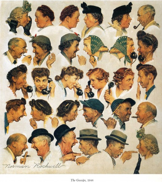 "Norman Rockwell (1894-1978), ""The Gossips,"" 1948. Painting for ""The Saturday Evening Post"" cover, March 6, 1948. Oil on canvas. Private collection. ©SEPS: Curtis Publishing, Indianapolis, IN"