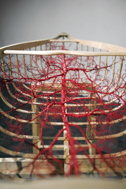 """Blood & Bone"" Maple, copper wire, rubber, paint"