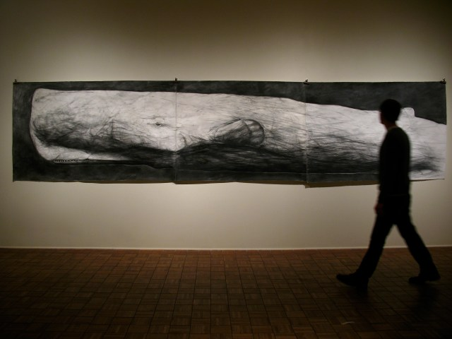 I Went In Bitterness, 2011  mixed media on paper  50 in. x 224 ¼ in.  Moby-Dick is drawn on a sheet of paper measuring over 18 feet long. The  drawing is then removed from the wall and rolled up, never to be seen  again.