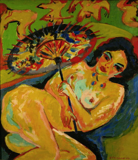 Ernst Ludwig Kirchner Mädchen unter Japanschirm (Girl under a Japanese Umbrella), 1909 Oil on canvas 36 1/5 × 31 1/2 in 92 × 80 cm Erich Lessing / Art Resource, New York