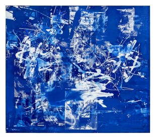 "Jahn Bauer, Blue Velvet   90"" x 102""  oil and enamel on linen  2013"