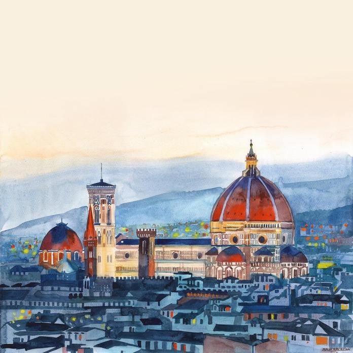 firenze art, Maja Wrońska, watercolour art, watercolor painting, watercolor ideas, cityscape painting, curators of quirk, curated art