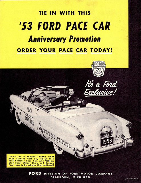 1953fordpacecar for Ford motor company history background