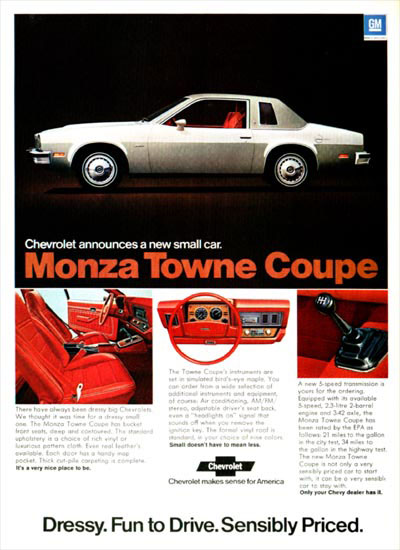 1975MonzaAd01 curbside classic 1979 chevrolet monza coupe vega ii or mustang too? 1980 Chevy Monza at bakdesigns.co