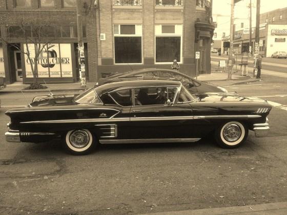 Chevrolet 1958 impala and Prius 1 bw