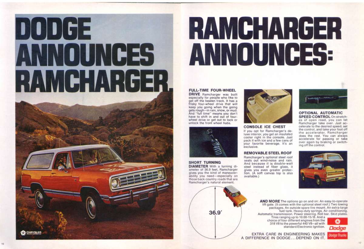 Curbside Classic 1975 Dodge Ramcharger Charges Ahead Of 1970 Ford Bronco Full Size 1974